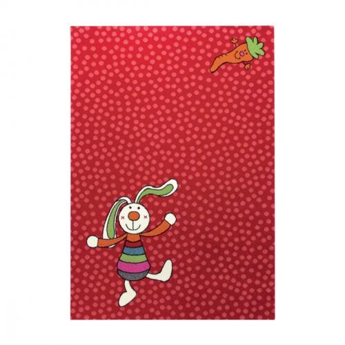 Tapis Rainbow Rabbit rouge