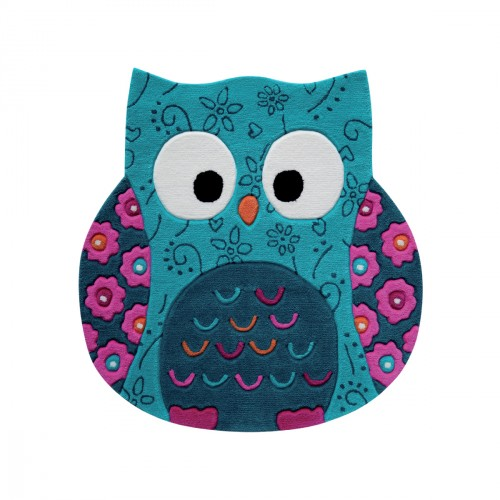 Tapis chouette Little Owl bleue