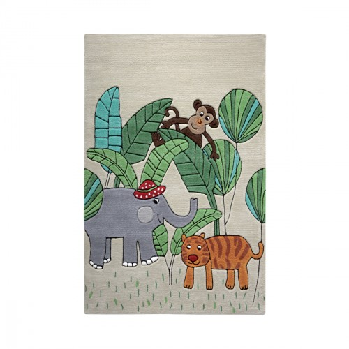 Tapis Jungle Friends beige