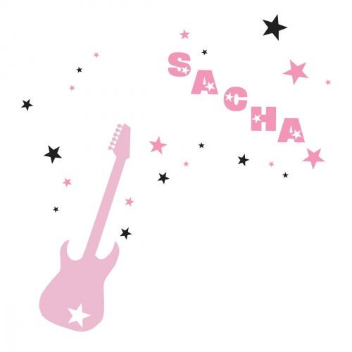 Stickers guitare et étoiles rose et noire