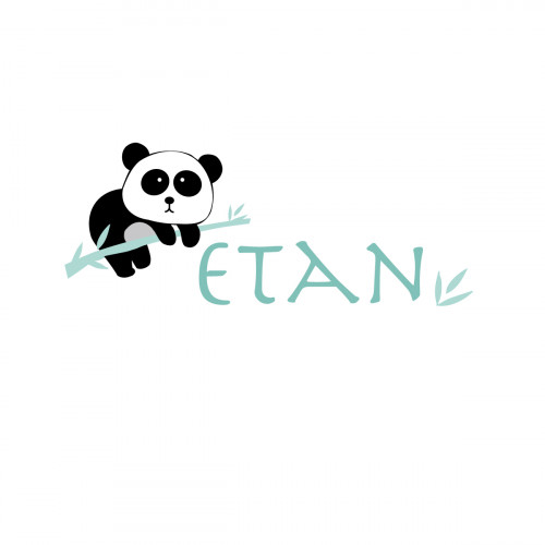 Sticker prénom panda Etan menthe