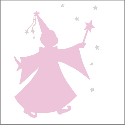 Sticker fée des étoiles rose