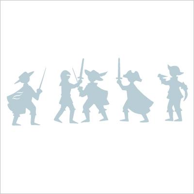 Sticker frise aventuriers Bleu