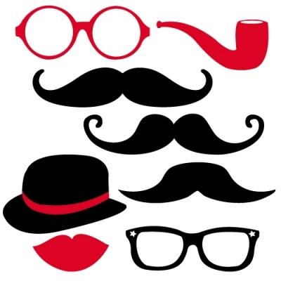 Sticker panoplie moustache rouge et noire