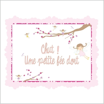 Sticker Plaque de porte - Chut une petite fée dort