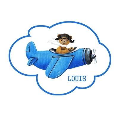 Sticker Plaque de porte ours en avion bleu dans un nuage personnalisable