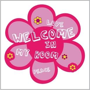 Sticker Plaque de porte Peace and Love