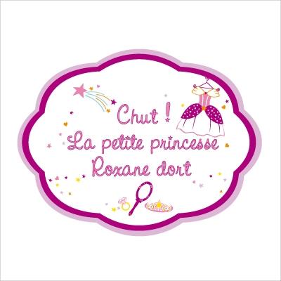 Sticker Plaque de porte personnalisable princesse