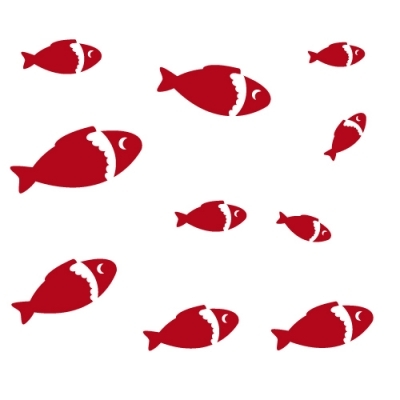 sticker poissons rouges