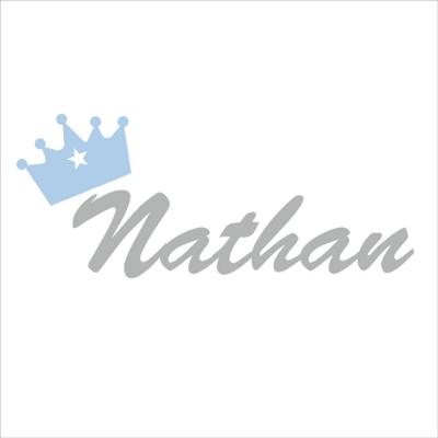 Sticker prénom couronne Nathan gris