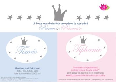 Sticker prénom prince et princesse Ma Cocoon Box