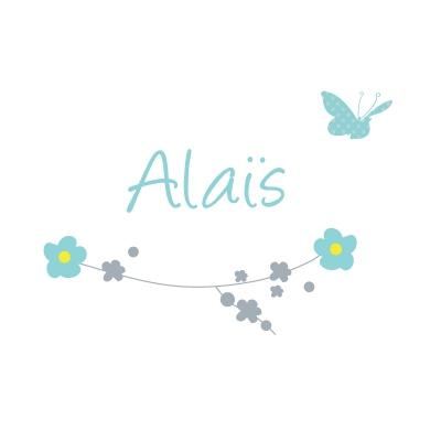 Sticker prénom printemps fleurs et papillon Alaïs
