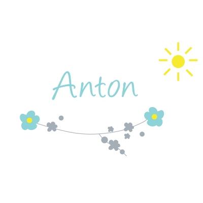 Sticker prénom printemps fleurs et soleil Anton