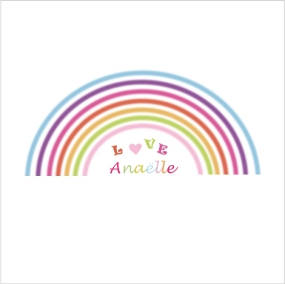 sticker tete de lit arc en ciel