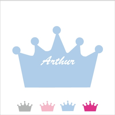 Sticker tête de lit couronne prénom