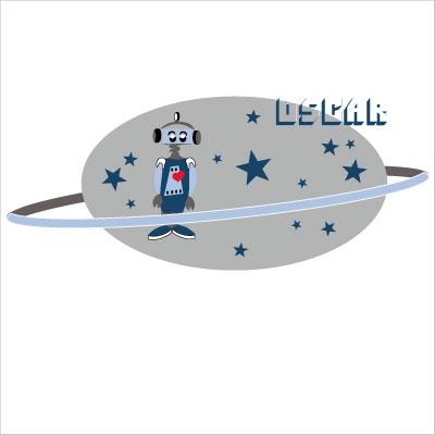 Sticker tête de lit robot OSCAR personnalisable