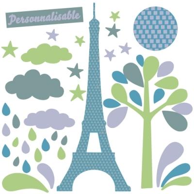 Sticker tour Eiffel étoiles et gouttes d'eau
