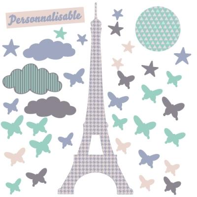 Sticker tour Eiffel étoiles et papillons