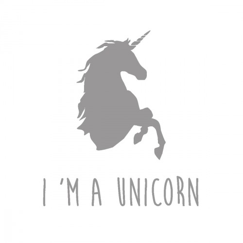 Stickers I'm a unicorn gris personnalisable