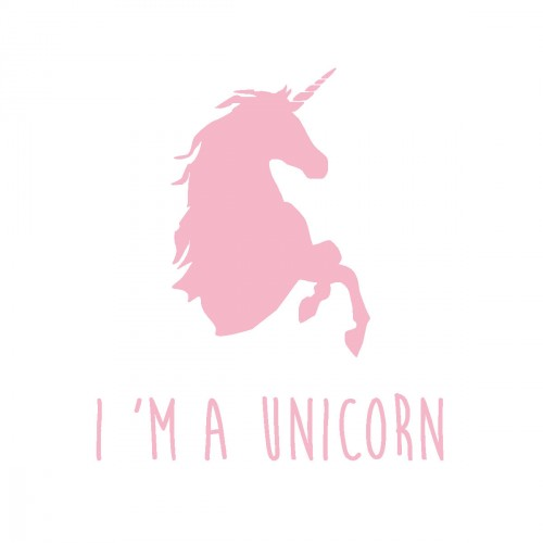 Stickers I'm a unicorn rose pale personnalisable
