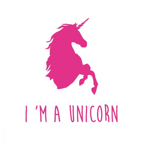 Stickers I'm a unicorn rose vif personnalisable