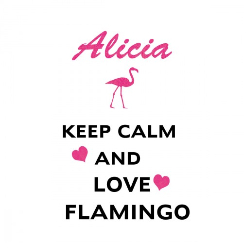 Stickers keep calm and love flamingo personnalisable