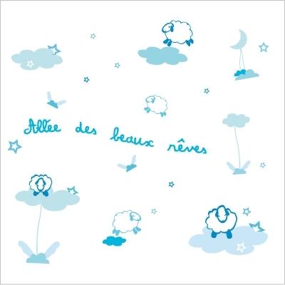 Stickers Allée des beaux rêves bleu turquoise
