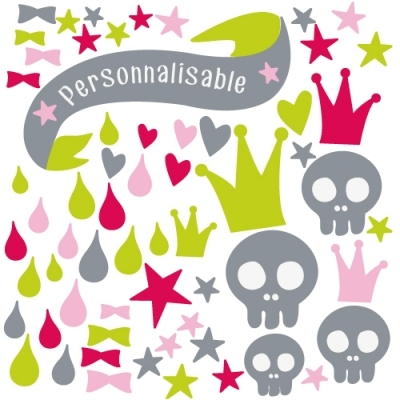 Stickers ambiance têtes de mort girly rose et vert