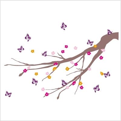 Stickers Arbre à papillons violets