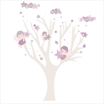 Arbre douce nuit etoilee fille lili pouce boutique - Stickers arbre chambre fille ...