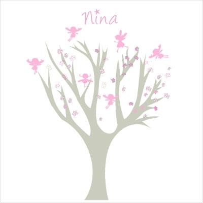Stickers arbre petites fées roses