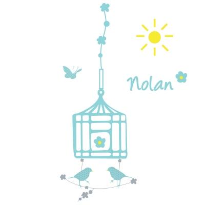Stickers Cage à oiseaux bleu personnalisable