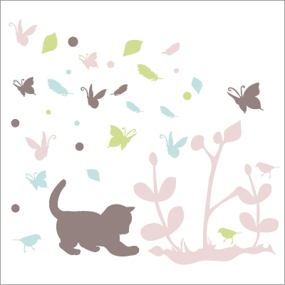 Stickers chaton multicolore