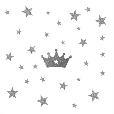 Stickers couronne et etoiles argent