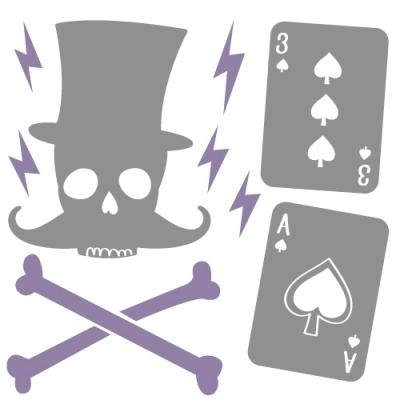 Stickers Décor tête de mort et as de pique gris mauve