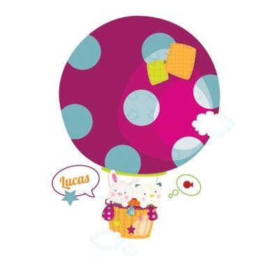 Stickers Doudou en en montgolfière