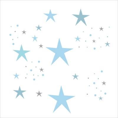 stickers etoiles magiques bleu ciel et gris lili pouce stickers appliques frises tapis. Black Bedroom Furniture Sets. Home Design Ideas