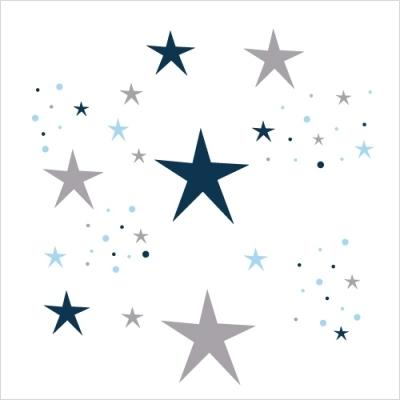 Stickers Etoiles Magiques bleu nuit et gris