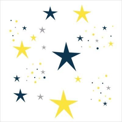 stickers etoiles magiques bleu nuit et jaune lili pouce stickers appliques frises tapis. Black Bedroom Furniture Sets. Home Design Ideas
