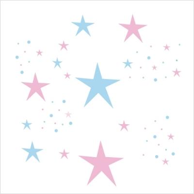 Stickers Etoiles Magiques roses et bleu ciel