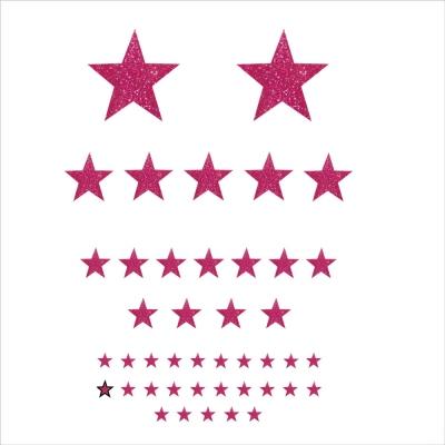 Stickers Etoiles pailleté rose personnalisable