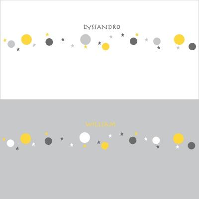 Stickers Frise bulles et étoiles jaunes, grises et blanches