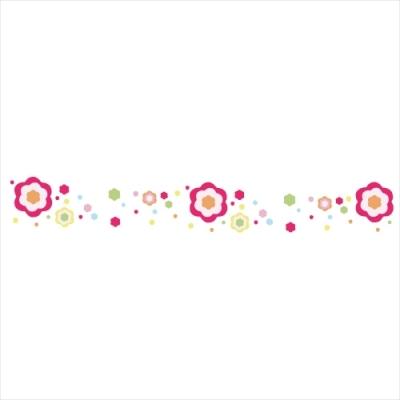 Stickers Frise fleurs arc en ciel
