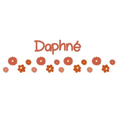 Stickers Frise fleurs orange Daphné