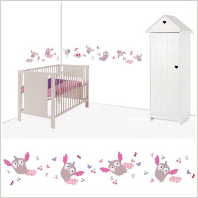 stickers frise hiboux rose lili pouce boutique d co. Black Bedroom Furniture Sets. Home Design Ideas
