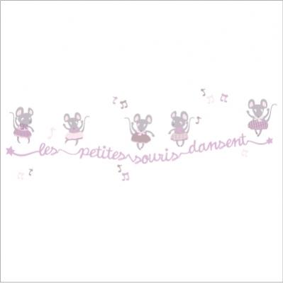 frise souris dansent lili pouce stickers appliques frises tapis luminaires lampes. Black Bedroom Furniture Sets. Home Design Ideas