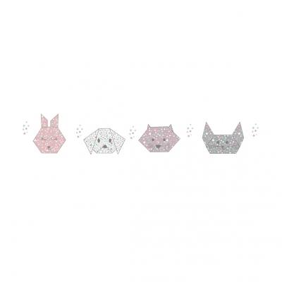 Stickers frise Origami rose vert