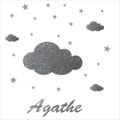 Stickers grand nuage argent