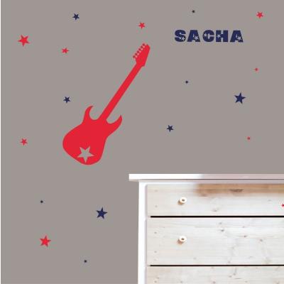 Stickers guitare et étoiles
