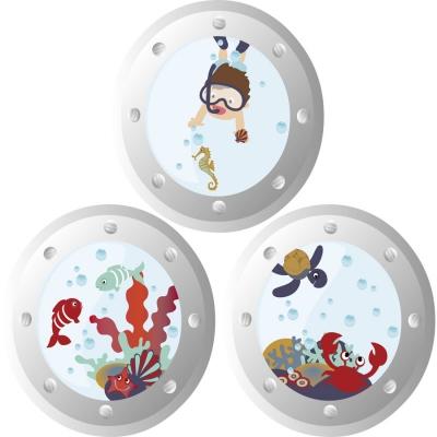 Stickers Hublots aquatiques garçons